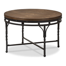 baxton studio austin vintage antique bronze round coffee table coffee tables