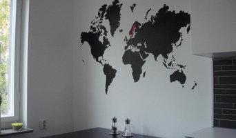 värdskarta målad i kök