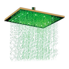 """Fontana 16"""" Gold Plated Square Color Changing LED Rain Shower Head, Solid Brass"""