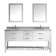 "Virtu Caroline Estate 72"" Double Bathroom Vanity, White, Mirrors"