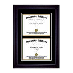 "Double Diploma Frame with Double Matting, Premium Black, 11""x14"""