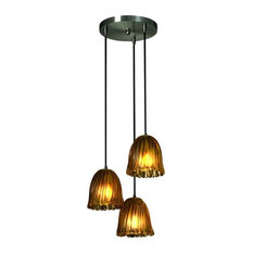 Justice Design Veneto Luce Mini 3-Light Cluster LED Pendant, Brushed Nickel
