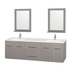 "Centra 72"" Double Vanity, Square Sinks, Gray Oak, White Stone, 24"" Mirrors"