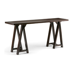 Sawhorse Wide Console Sofa Table, Dark Chestnut Brown