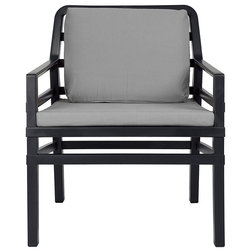 Transitional Outdoor Lounge Chairs Aria Cushioned Armchair, Black And Gray