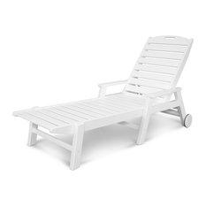 Polywood Nautical Wheeled Chaise Lounge w/ Arms, White