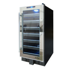 33-Bottle Mirrored Touch Screen Wine Cooler in Black and Silver