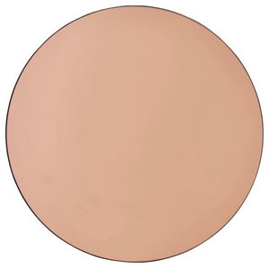 Rose Gold Tinted Round Mirror
