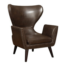 Coaster Fine Furniture - Accent Unique Style Traditional Chair High Back  Leather Seat Brown Nail Head