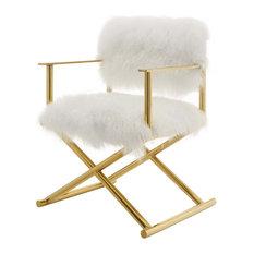 Modern Deco Urban Living Accent Chair Metal Gold White