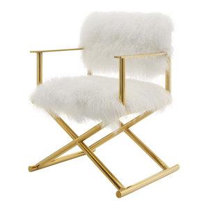 Modern Deco Urban Living Accent Chair, Metal Gold White