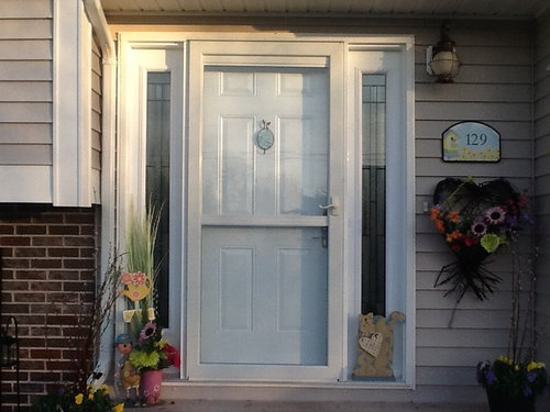 Incroyable Now Would You Paint The Sidelights Red Also? Or Beige, Like The Siding?  Also Would You Paint The Storm Door Red Also, So It Is Not So Blinding  White?