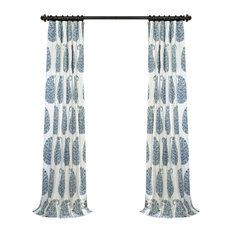 "Paisley Park Blue Printed Cotton Twill Curtain, 50""x96"""