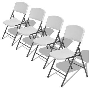 vidaXL Set of 4 Foldable Garden Chairs, HDPE, White