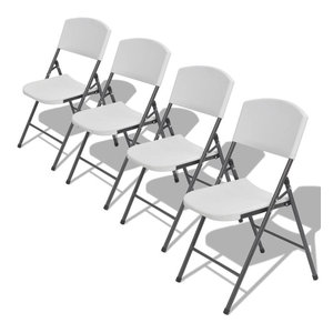 vidaXL Set of 4 Foldable Garden Chairs, HDPE, White