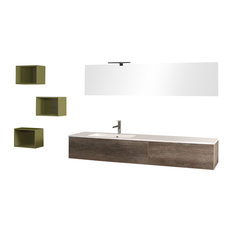 Sirio Tobacco Wall-Mounted Bathroom Vanity Unit Set