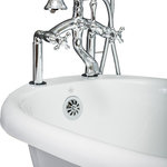 """Pelham & White - Vintage Deck Mount Tub Filler Faucet/Handshower, Chrome, Cross Handles - 37"""" deck mount tub filler in Chrome. Solid brass construction.  Built-in valves (no additional purchases required). Vintage """"telephone"""" handshower included. 59"""" brass handshower hose included. Limited lifetime warranty"""