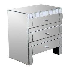 Isadora Mirrored 3-Drawer Nightstand