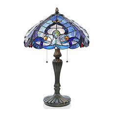 """24.25"""" Tiffany Style Stained Glass Sea Shore Table Lamp"""