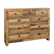 Norman Reclaimed Pine 9 Drawer Dresser Distressed Natural by Kosas Home
