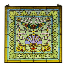 """24"""" x 24"""" Colorful Handcrafted stained glass Jeweled window panel"""