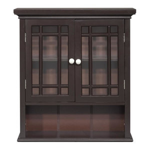 Elegant Home Fashions Neal 2-Door Wall Cabinet, Dark Espresso