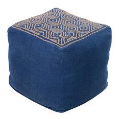 Surya Poufs Cube Pouf, Blue, Brown