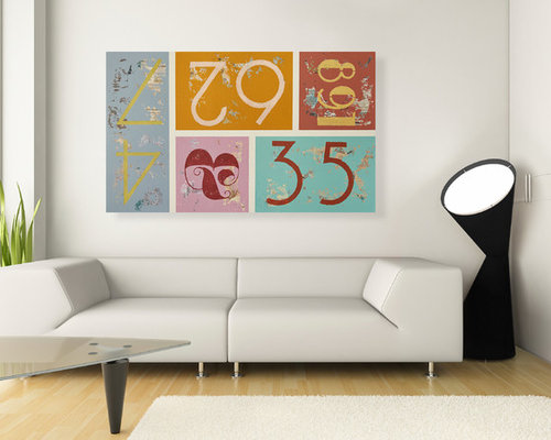 Bon Colorful Mid Century Modern Typography Wall Art