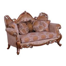 European Furniture - Tiziano II Luxury Loveseat In Light Gold & Antique Silver -
