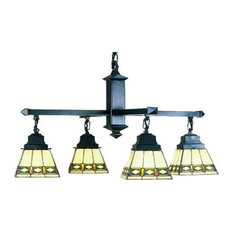 "Meyda 26"" Diamond Band Mission 4-Light Chandelier"
