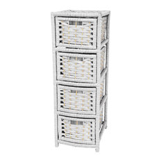 """32"""" Natural Fiber Occasional Chest of Drawers, White"""