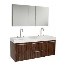 Fresca Opulento Walnut Double Sink Bathroom Vanity With Medicine Cabinet