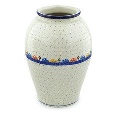 """Polish Pottery 12"""" Stoneware Vase Hand-Decorated Design"""