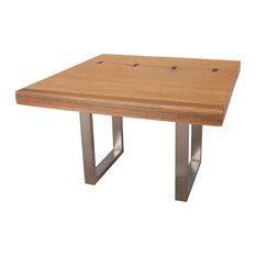 48-inchWide Dining Table Acacia Solid Wood Brushed Stainless Stee 831
