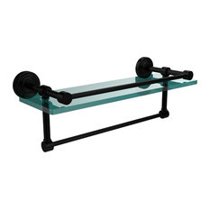 "16"" Gallery Glass Shelf With Towel Bar, Matte Black"