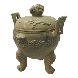 Unique Chinese Clay Pottery Hand Made Ding Incense Burner WK2973
