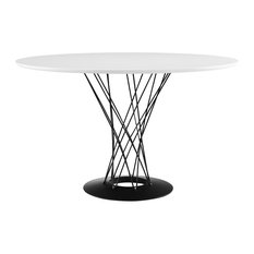 Cyclone Round Wood Top Dining Table, White