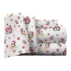Pointehaven 175 GSM Cotton Flannel Sheet Set, Penguin, Full