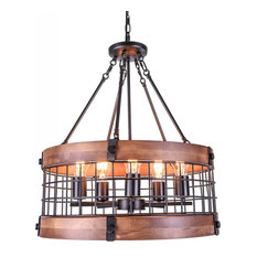 Vintage Industrial Dome Wood Chandelier With 5 Lamps