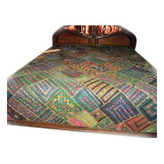 Mogul Interior - Kutch Bedspread Embroidered India Bedding Coverlet Large Wall Hanging Tapestry - Tapestries