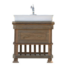 "36""Artisan Reclaimed Wood Chest Barn Wood Bath Vanity Vessel Sink Package"