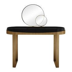 Aldrich Brass Dressing Table With Mirror
