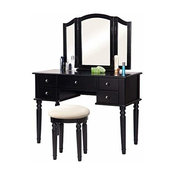 Modern Vanity Table Set, Tri-Fold Mirror, 5-Drawer and Cushioned Stool