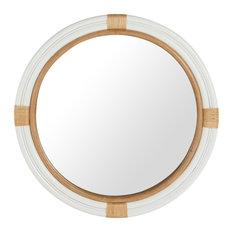 KOUBOO - Nautical Decorative Wall Mirror in Rattan, White - Wall Mirrors