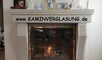 Kaminkassette maßgefertigt mit vergoldeter Front für einen Kunden in Brüssel