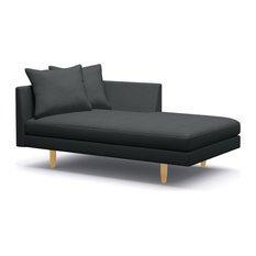 "Crowd Pleaser Chaise, Midnight, Honey, 63"", Left Facing"