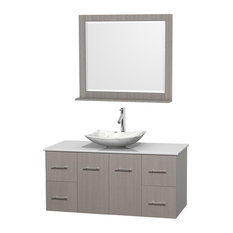 "Centra 48"" Gray Oak Single Vanity, White Man-Made Stone Top, Carrera Marble Sink"