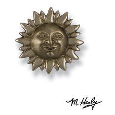 Smiling Sunface Doorbell Ringer, Nickel Silver