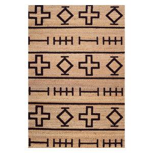 Handloomed Geometric Area Rug, Natural, 8'x10'