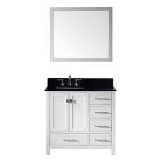 "36"" Single Bathroom Vanity,White,Black Galaxy Granite Top,Square Sink,Mirror"